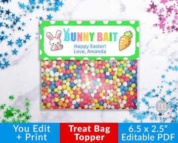 Bunny Bait Bag Topper Printable Editable