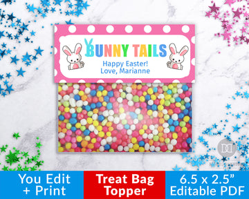 Bunny Tails Treat Bag Topper Printable- Cute Easter Bunnies