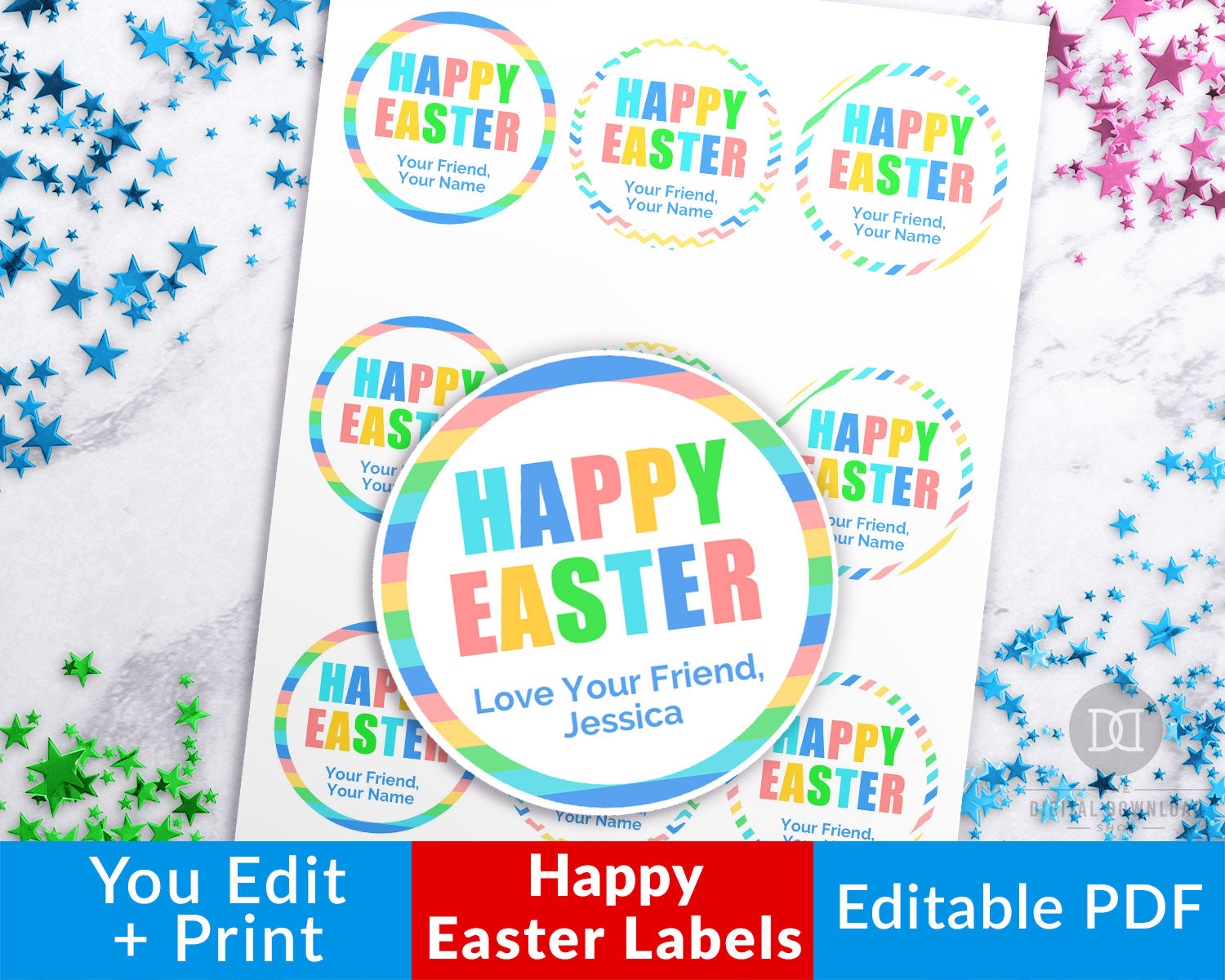 photo about Circle Labels Printable named Easter Circle Labels Printable- Joyful Easter