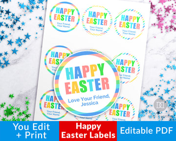 Easter Circle Labels Printable- Happy Easter