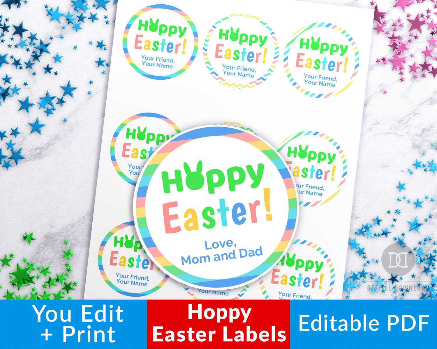 picture relating to Easter Labels Printable identified as Easter Circle Labels Printable- Hoppy Easter