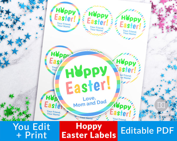 Printable Hoppy Easter Labels- These editable gift labels are the perfect finishing touch to your Easter party favors or Easter gifts! | #Easter #printable #giftTags #DigitalDownloadShop