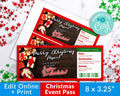Christmas Event Pass Template Printable- Presents *EDIT ONLINE*