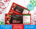 Christmas Event Pass Template Printable- Presents
