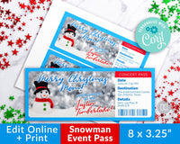 Snowman Event Pass Template Printable