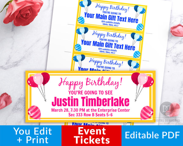 Event Ticket Editable Printable: Birthday- These DIY birthday tickets are the perfect way to give the gift of a concert, trip, or other fun event! | birthday coupon, DIY birthday gift #eventTicket #invitation #diyGift #birthday #DigitalDownloadShop