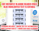 Event Ticket Editable Printable: Black and White- The Digital Download Shop