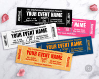 Event Ticket Template Printable- Choose Your Own Colors