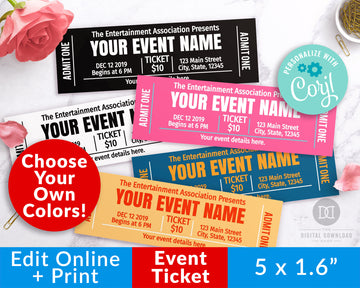 Event Ticket Template Printable- Choose Your Own Colors *EDIT ONLINE*