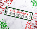 Christmas Event Ticket Template- Green Buffalo Check