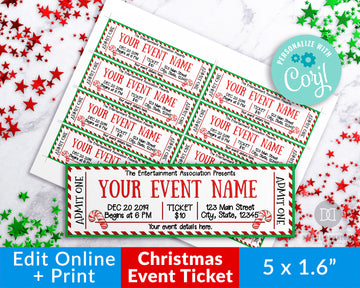 Candy Cane Christmas Editable Event Ticket Printable *EDIT ONLINE*