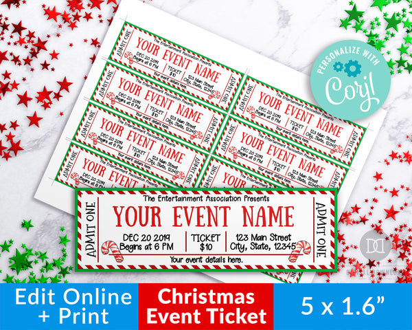 Candy Cane Christmas Editable Event Ticket Printable