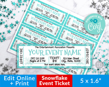 Winter Event Ticket Printable Editable *EDIT ONLINE*