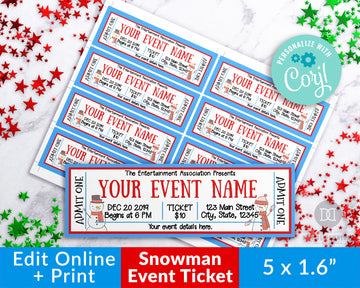 Snowman Christmas Event Ticket Template *EDIT ONLINE*