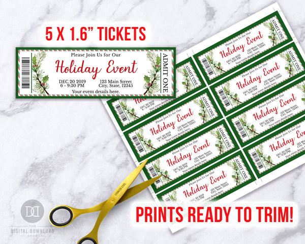 Holiday Event Ticket Editable Printable