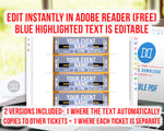 Event Ticket Editable Printable: Gold- The Digital Download Shop