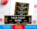 Event Ticket Editable Printable- Gold + Black