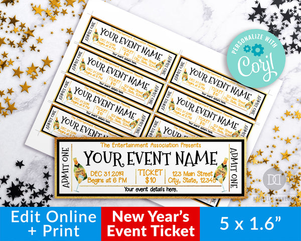 New Year's Event Ticket Template- Champagne