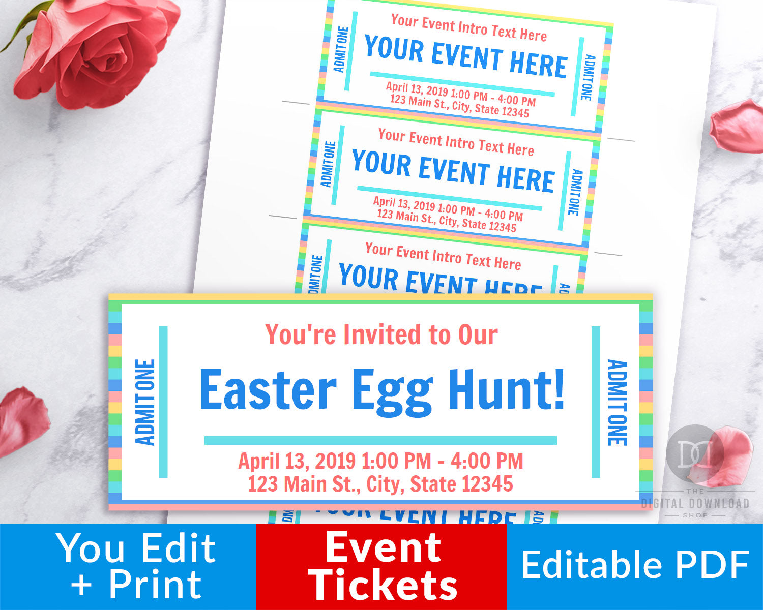Event Ticket Editable Printable- Spring