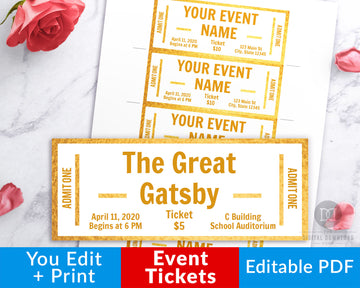 Event Ticket Editable Printable- White and Gold