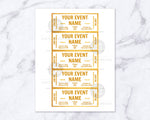 Event Ticket Editable Printable: White and Gold- These DIY event tickets are perfect for parties, concerts, sports events, community events, family events, and so much more! | Great Gatsby party, #eventTickets #invitation #printable #DigitalDownloadShop