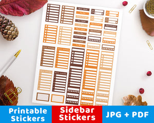 Fall Sidebar Printable Planner Stickers