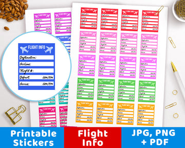 Flight Info Printable Planner Stickers
