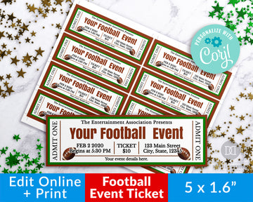 Football Invite Ticket Editable Printable *EDIT ONLINE*