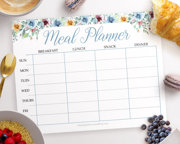 Free Weekly Meal Plan- Watercolor Florals