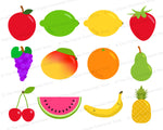 12 Fruit Clipart Graphics- These pretty fruits would be perfect for teaching about healthy foods in the classroom, or for creating fun spring/summer projects or scrapbook layouts! | #clipart #graphics #scrapbooking #DigitalDownloadShop