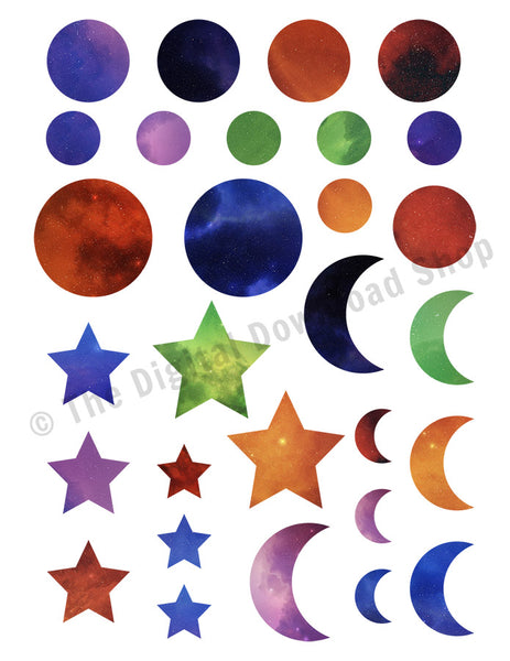 Galaxy Moon + Stars Printable Planner Stickers