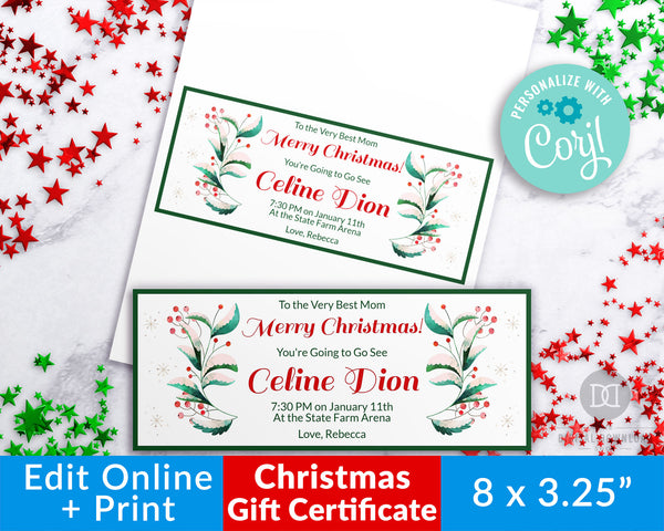 Christmas Gift Certificate Template- Elegant Greenery