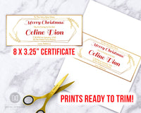 Christmas Gift Certificate Template- Elegant Gold