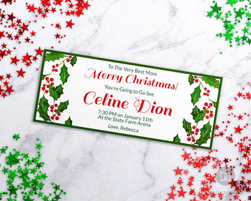 Christmas Gift Certificate Template- Watercolor Holly *EDIT ONLINE*