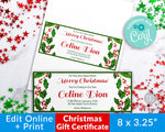 Christmas Gift Certificate Template- Watercolor Holly