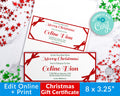 Christmas Gift Certificate Template- Ribbon *EDIT ONLINE*