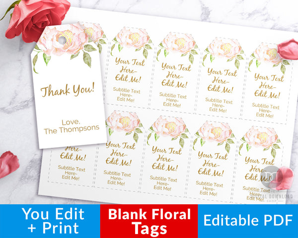 Blank Gift Tags Printable- Editable favor tags with beautiful watercolor florals. Customize them to say anything you want, all of the text is editable! | personalized gift tags, pink floral favor tags, wedding favor tags, birthday gift tags, #giftTag #favorTag #DigitalDonwloadShop