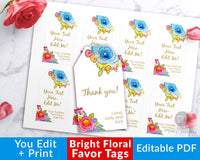 Favor Tags Printable- Bright Florals