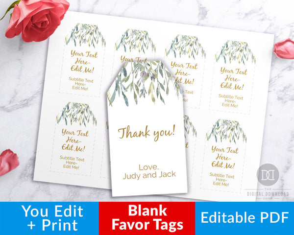 Gift Tags Printable- Watercolor Greenery
