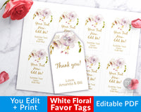 Favor Tags Printable- White Flowers