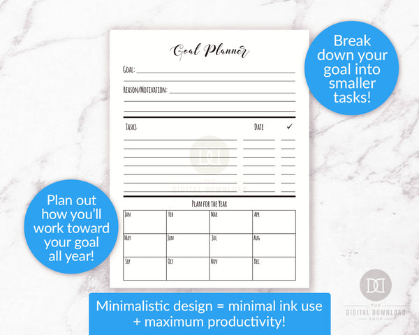 Goal planner printable. Use these handy project management/goal tracking printables to help yourself be as productive as possible when working on projects or goals!