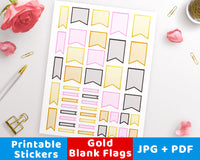 Gold Blank Flag Printable Planner Stickers