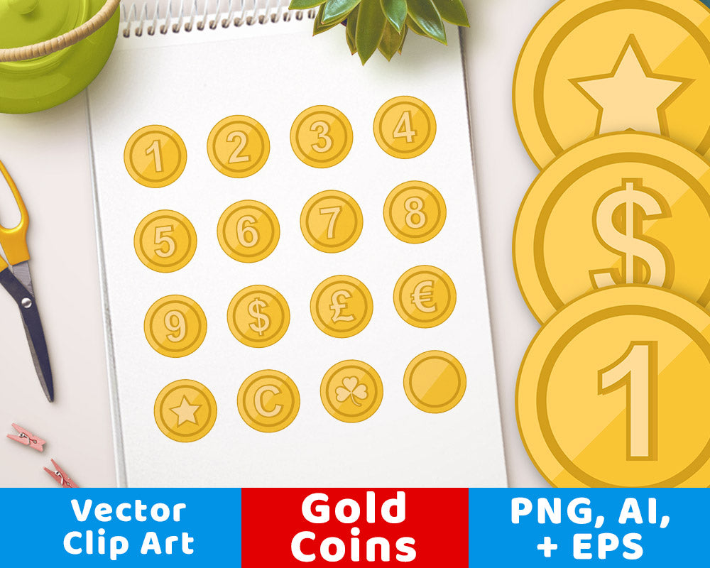 Gold Coin Clipart | The Digital Download Shop
