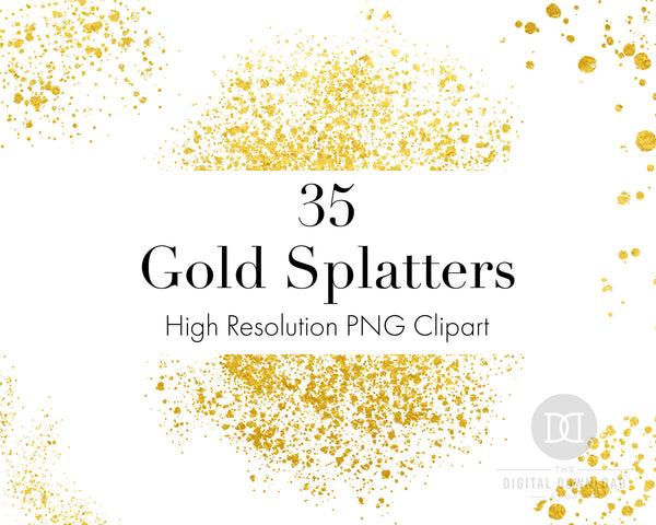 35 gold splatters clipart PNG images for personal and commercial use.