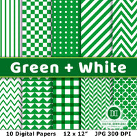Green and White Digital Papers- These digital papers would make great backgrounds for St. Patrick's Day designs, spring scrapbook pages, party invitations, and other green-themed projects! | green digital background, #digitalPapers #scrapbooking #graphicDesign #DigitalDownloadShop