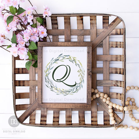 Monogram Wall Art Free Printable- Add a personal touch to your home's decor with this monogram wall art free printable with watercolor greenery! This would look gorgeous in any room of your home! | #freePrintable #freePrintables #wallArt #monogramWallArt #DigitalDownloadShop
