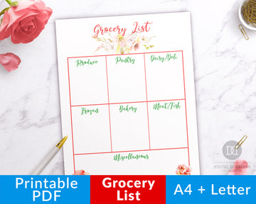 Grocery List Printable- Watercolor Florals