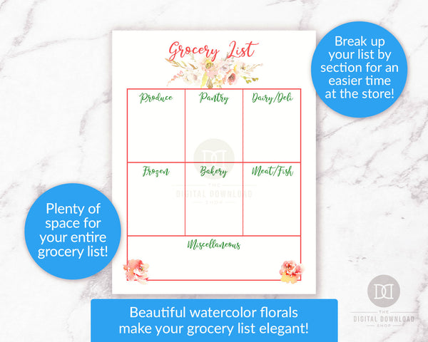 Grocery list printable with gorgeous watercolor florals. Use this grocery list template to break up your shopping list into categories for an easier time at the grocery store!
