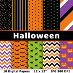 Halloween digital papers for personal and commercial use! This digital background pattern set includes 10 printable Halloween papers with a variety of patterns, including stripes, dots, black cats, and more! | #digitalPapers #Halloween #graphicDesign #DigitalDownloadShop