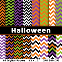 Halloween chevron digital papers for personal and commercial use! This digital zig zag background pattern set includes 16 printable Halloween papers with a chevron pattern in a variety of colors! | #digitalPapers #Halloween #graphicDesign #printable #DigitalDownloadShop